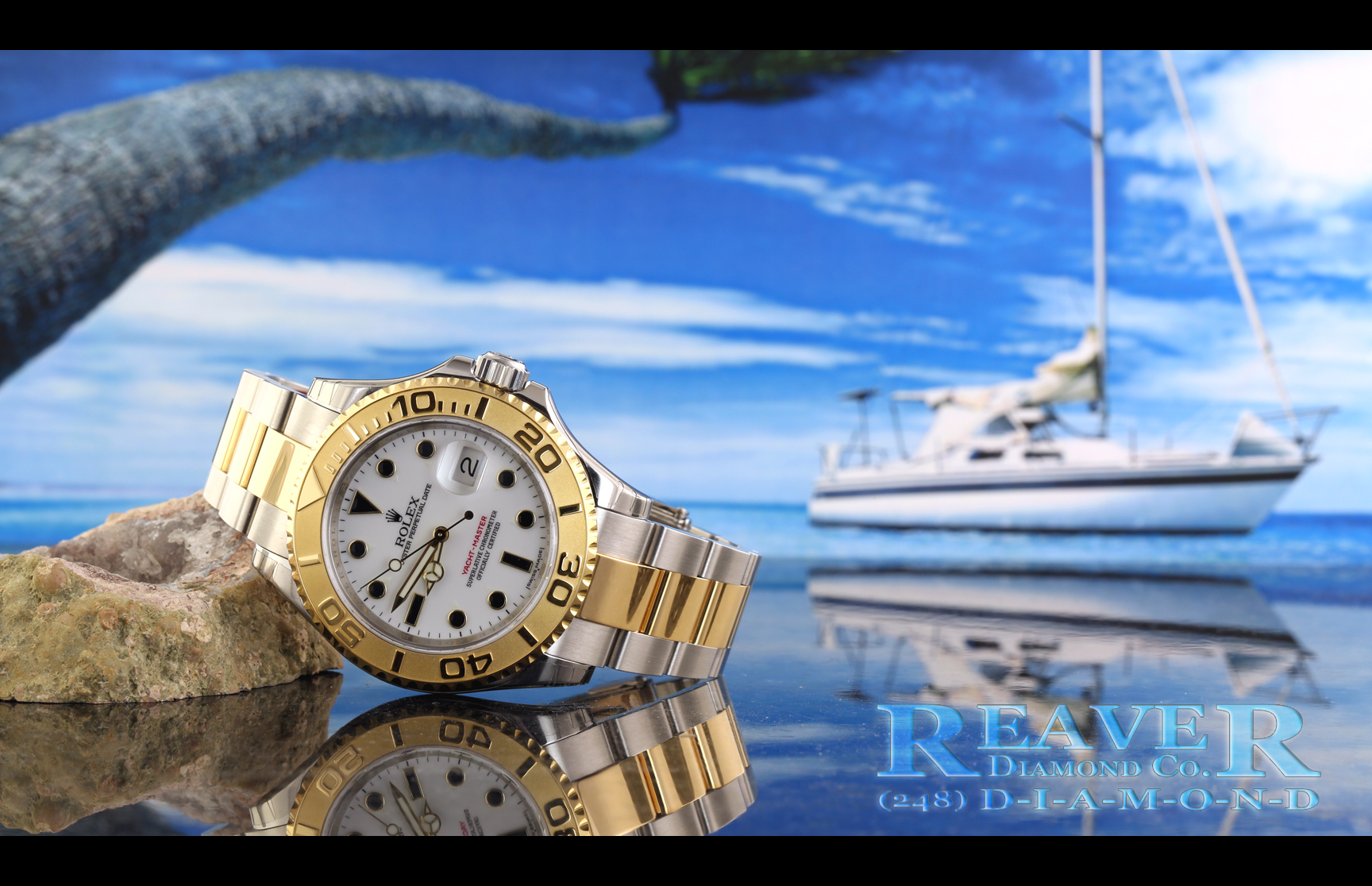Gents two-tone Stainless Steel & 18k Yellow Gold Yacht-Master Oyster Perpetual Date Rolex with White Face