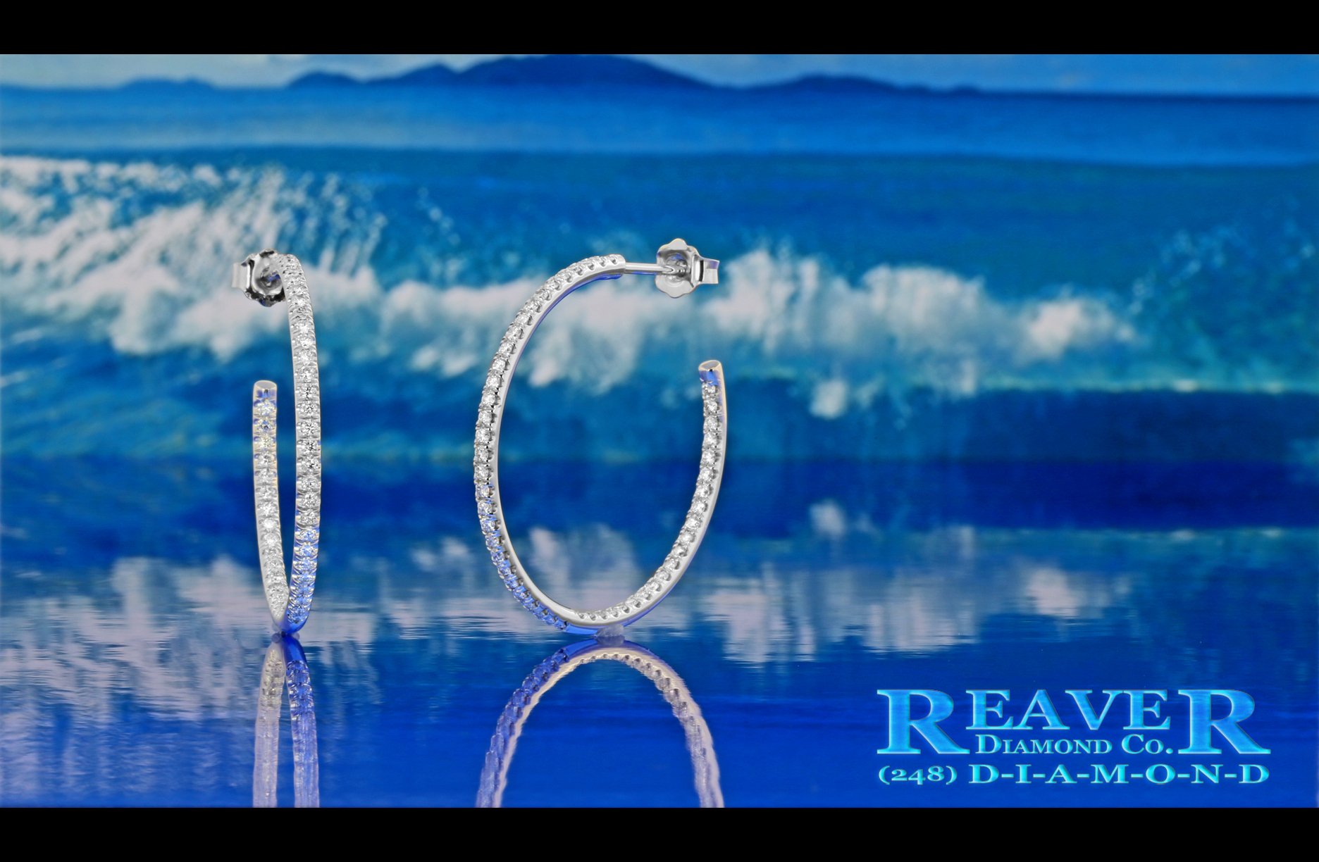 Ladies White Gold Inside-Outside Diamond Hoop Earrings with Friction Posts