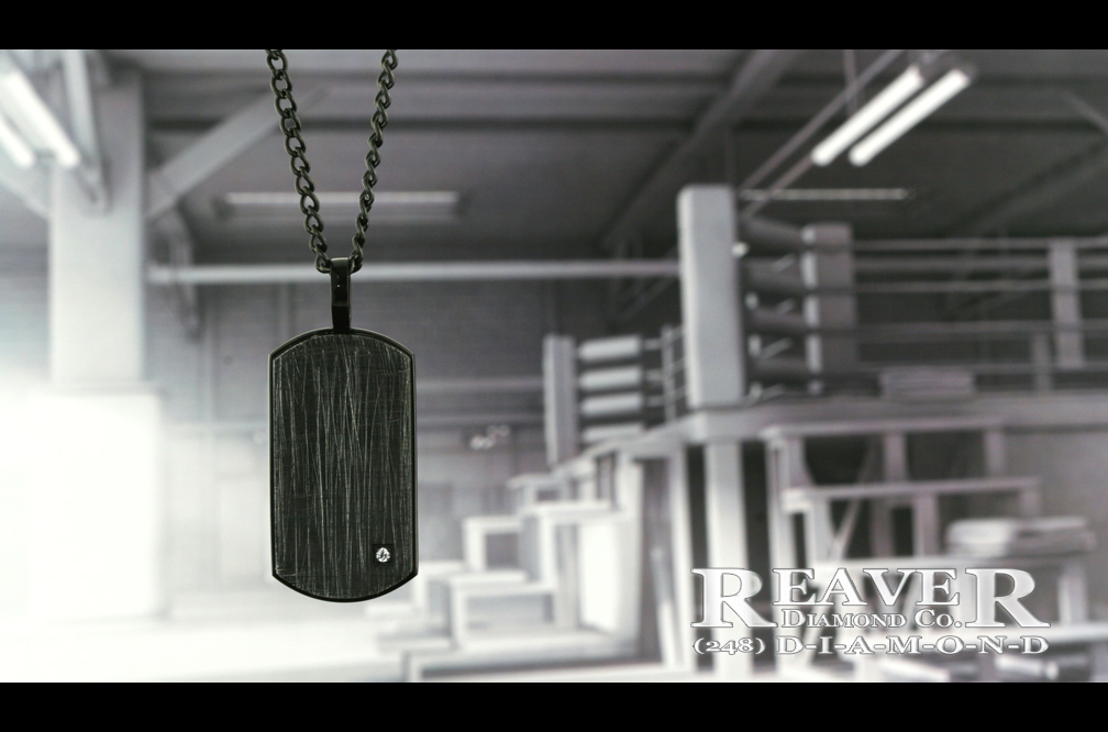 Mens Black Stainless Steel Pendant w single Dia