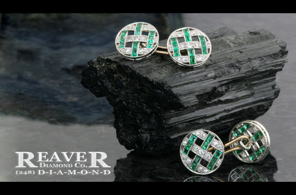 Mens Plat RB Dia & Emerald Cufflinks