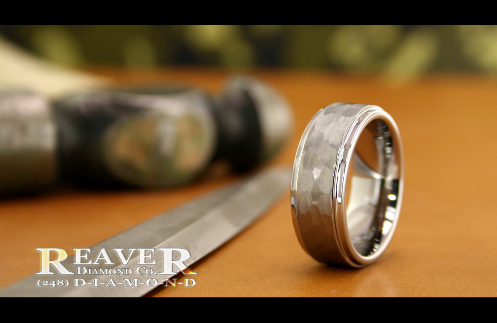 Tungsten Hammered Ring #2
