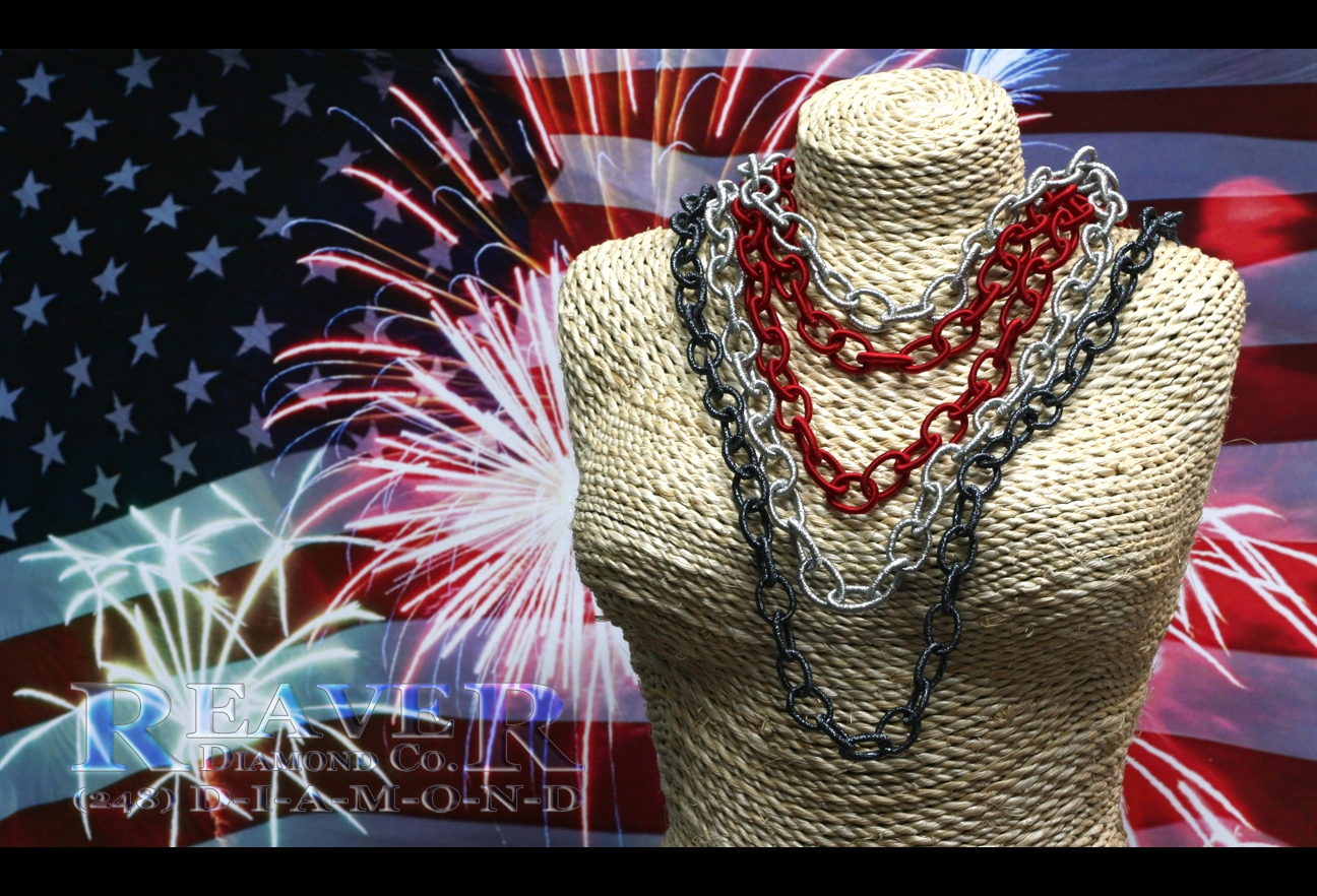 4th of July - Silk Chains - Red,White,Blue