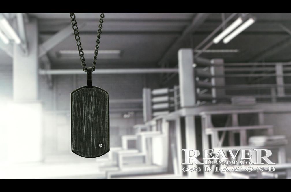 Mens Black Stainless Steel Pendant w single Dia